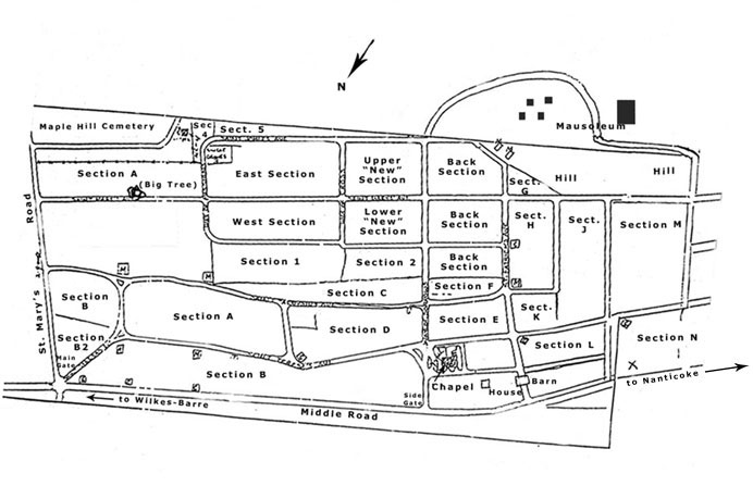 St. Mary's Cemetery map